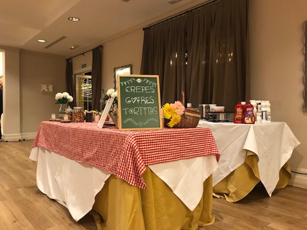 Mesa crepes, gofres y tortitas